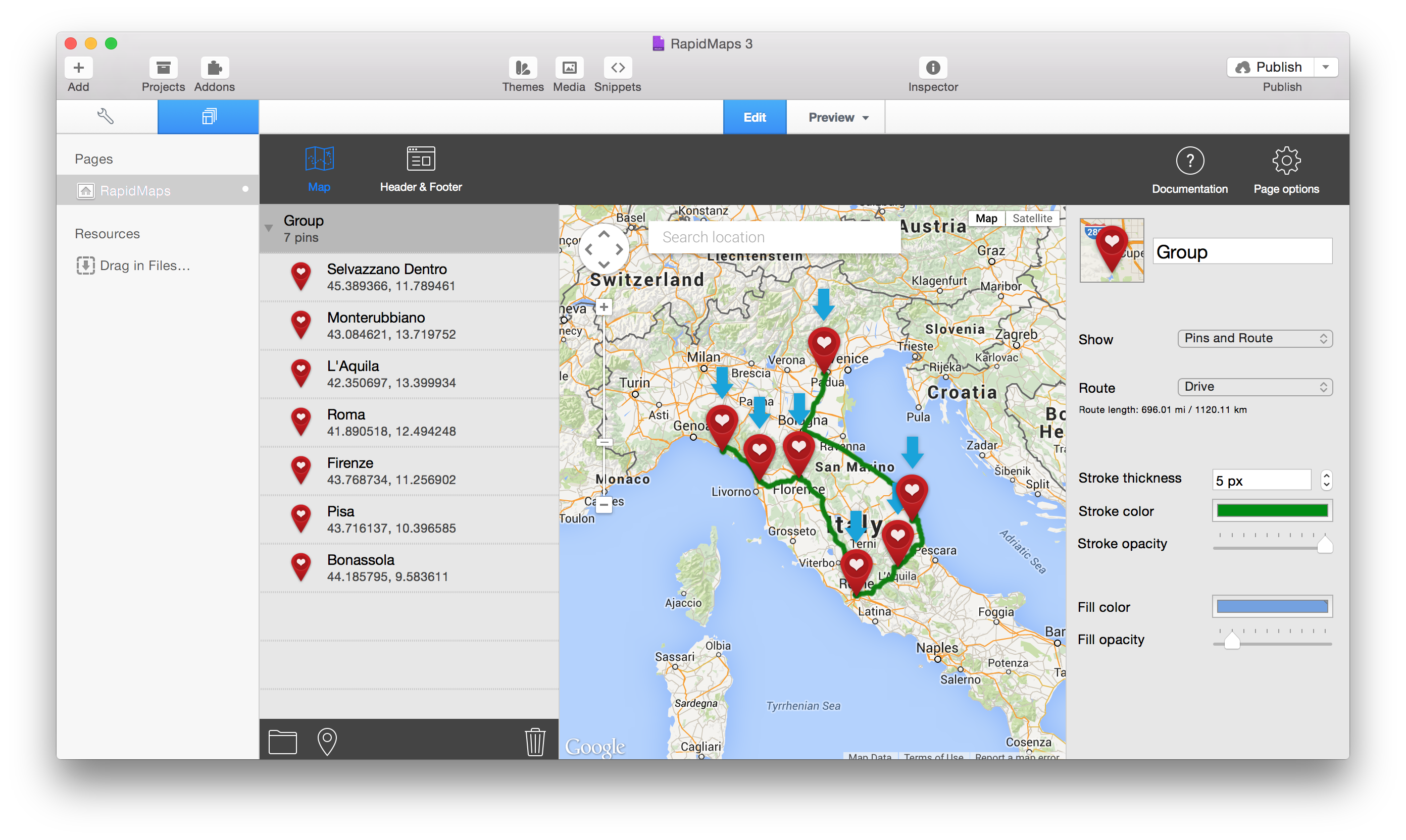 RapidMaps 3 Project - Honeymoon in Italy