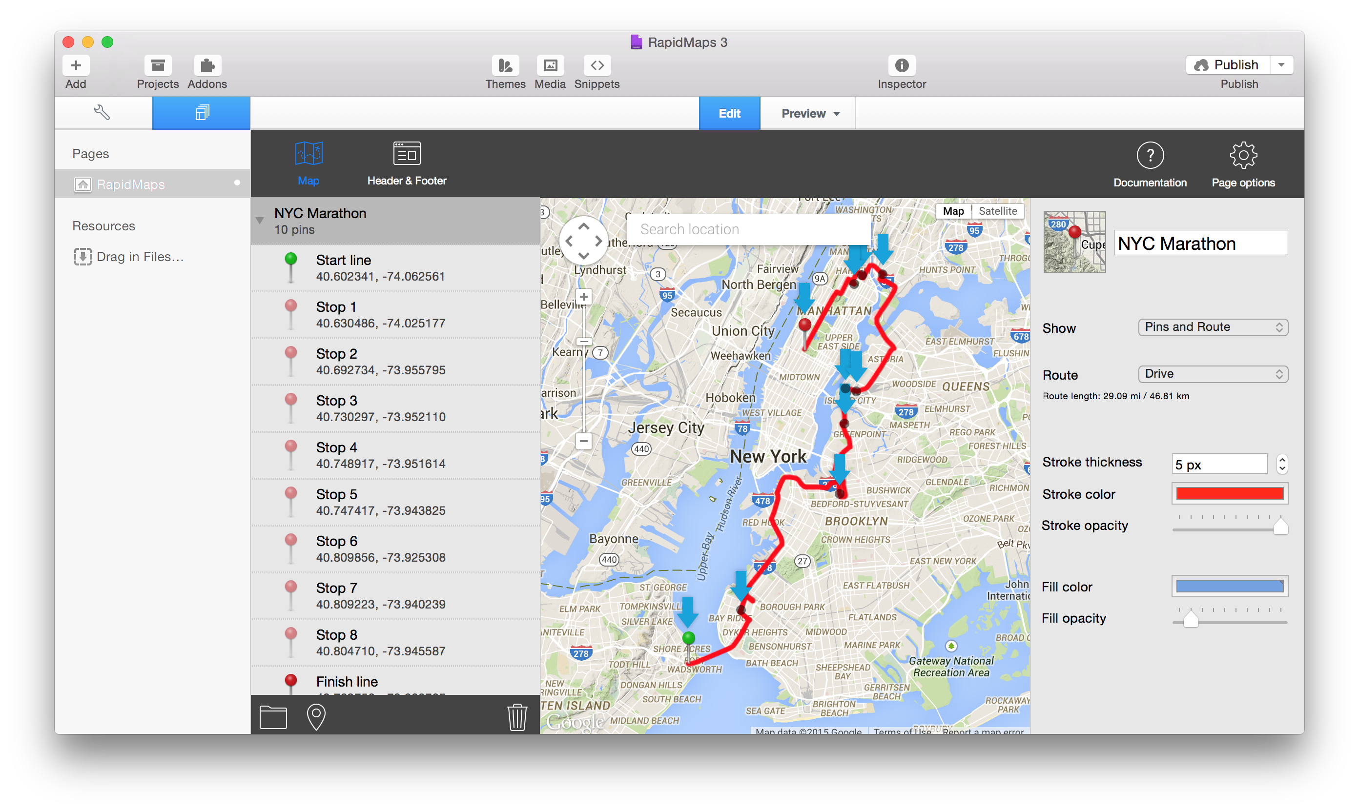 RapidMaps 3 Project - NYC Marathon
