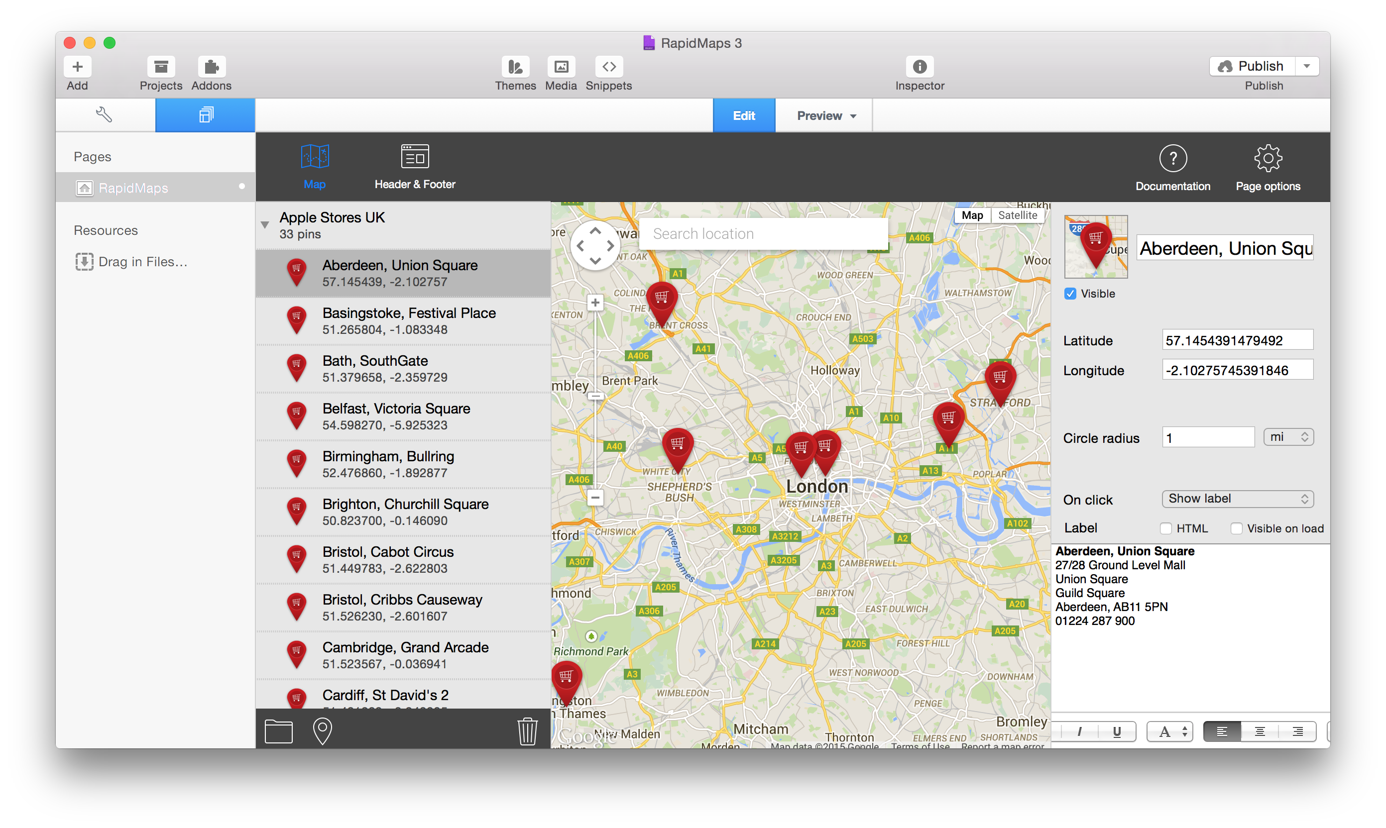 RapidMaps 3 Project - Apple Stores in UK